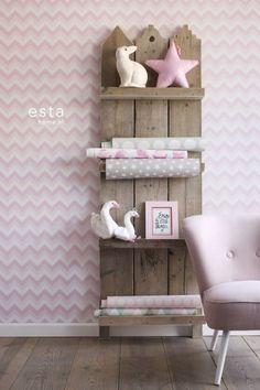 HD vliesbehang zigzag licht roze en wit