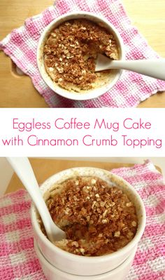 Eggless Microwave Coffee Mug Cake with Cinnamon Crumb Topping #recipe - a single-serving coffee crumb cake in a fast and easy microwave mug version! Seriously - this is the most velvety and cake-like microwave mug cake I've ever made. And the recipe doesn't use an egg! | www.pinkrecipebox.com