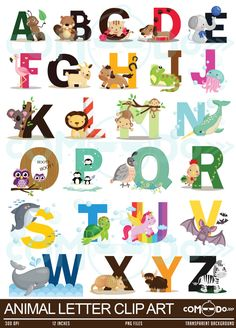 Animal Letters Clipart / Alphabet Digital Clip Art by Alphabet Letter Crafts, Alphabet Print, Animal Letters, Animal Alphabet, Art Drawings For Kids, Drawing For Kids, Alfabeto Animal, Abc Poster, Learning The Alphabet