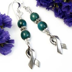 #Teal #Awareness #Earrings with Silvery #Ribbons, #Handmade #Dangles #Earthy - $12.00 - by #PrettyGonzo - #Jewelry on #ArtFire