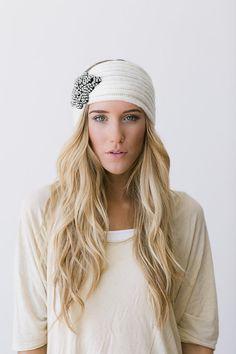 Ivory Bohemian Knitted Headband Más