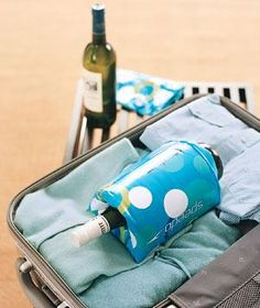 Kids' Floaties as Wine Bottle Protectors. Buffer breakables in a suitcase by placing delicate items, such as wine bottles and precious trinkets, inside an inflated arm floaty, and it will shield against bumps, bruises, and breaks.