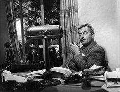 William Faulkner at his pipe in Warner Brothers Studios. 1940.