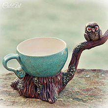 Nádoby - Čaj múdrosti - sova so šálkou - 6102868_