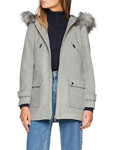 New Look Madison Faux Fur Manteau Femme Gris (Light Grey) 36 (Taille Fabricant: 8)
