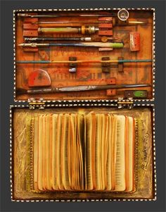 Raymond Papka. Box of Books Series #5. Mixed media altered book, encaustic, paper, oil pigment, found objects in a vintage box. 9.5 x 7.1 x 1  Available from Mowen Solinsky Gallery, Nevada City, CA