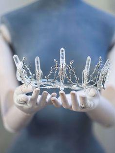 Crystal crown Raw quartz points silver tone tiara by moondomeuk