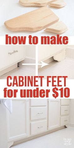 How to make DIY decorative wood feet for bathroom or kitchen cabinets using inexpensive pine corbels or shelf brackets. Affordable DIY home improvement project | In My Own Style