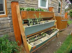 Vertical space gardens make the most of small areas.