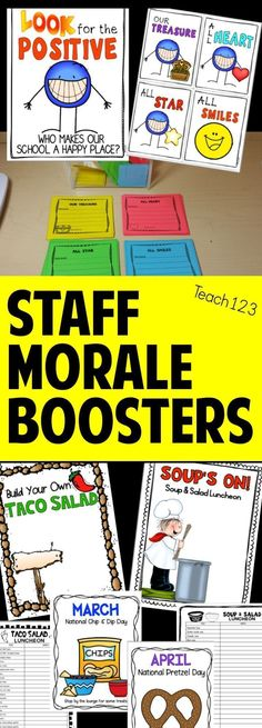 SAVE HOURS OF TIME PLANNING! Teacher & staff appreciation EDITABLE activities are fun ways to boost the morale. Includes staff shout outs, happy notes, luncheons, faculty snacks, tips to organize events, and more! paid