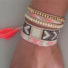 Lot de 3 bracelets manchette et wrap faits main en perles Miyuki Artisanat Made in France Créatrices Peau d'Anne en vente sur le concept store www.o-some.com
