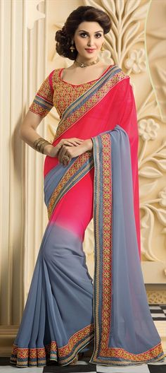 PINK & GREY - Check out this new in party wear collection and order it flat off. Indian Clothes, Indian Dresses, Indian Outfits, Indian Fashion, Women's Fashion, Fashion Design, Saree Models, Georgette Fabric, Party Wear Sarees