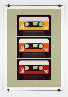 3 Cassettes  Poster Art Print by twenty21onecreative on Etsy, $25.00