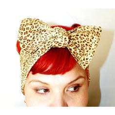 Bow style, Vintage Inspired Head Scarf, Leopard Print, Light Brown,... ($14) ❤ liked on Polyvore