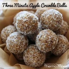These delicious Three Minute Apple Crumble Balls are a recipe from The Healthy N. - These delicious Three Minute Apple Crumble Balls are a recipe from The Healthy New Year Issue of Th - Raw Food Recipes, Sweet Recipes, Cooking Recipes, Thermomix Recipes Healthy, Thermomix Desserts, Dessert Recipes, Protein Snacks, Protein Ball, Fruit Snacks