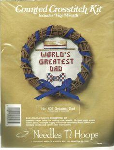 "World's Greatest Dad Counted Cross Stitch Kit by Needles 'N Hoops 5"" diam NIP #NeedlesNHoops #Kit"