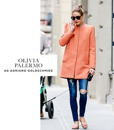 Olivia Palermo  On Olivia: AG Adriano Goldschmied The Legging Ankle Jeans ($215) in 7 Years Break Me Down; Zara coat; Pretty Ballerinas Marilyn Flower Textile Flats ($199).