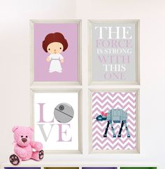 Baby Girl Star Wars Nursery Art Girl Room by StarWarsPrintShop, $32.00.  Customize able background colors and patterns.  We did ours in baby pink.  Ordered it within minutes of wife giving her approval so she couldn't change her mind.  It looks so great in her room!