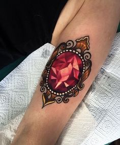 oval crystal & lace tattoo