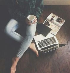 Cup of hot chocolate, watching my favorite show, and reading a book/magazine/looking at pictures, scrolling through Pinterest.