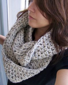 Chunky+Infinity+Scarf+Oatmeal+SIZE+MEDIUM+by+SoLaynaInspirations,+$36.00