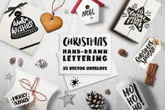 Christmas Overlays by Maria Galybina on @creativemarket lettering for holidays with love
