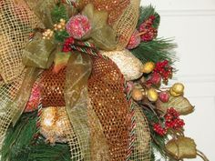 swags wreaths christmas | Fall Christmas Beaded Fruit Filled Teardrop Swag Wreath Natural Bronze ...