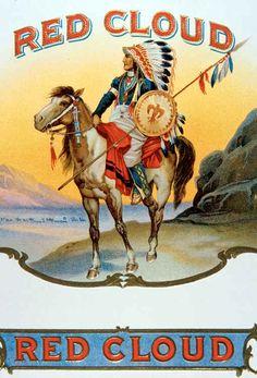 Indian chief on horseback cigar box label