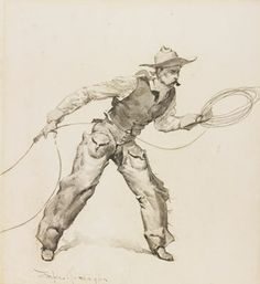 Sotheby's New York - SNAPPING A ROPE ON A HORSE'S FOOT, Frederic Remington