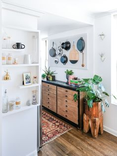 Bev added this narrow dresser to the thin, small kitchen. Kitchen Cabinet Shelves, Painting Kitchen Cabinets White, Paint For Kitchen Walls, Cabinet Space, Cupboard, White Interior Design, Interior Design Kitchen, Tiny House, Small Kitchen Organization