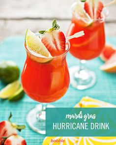Hurricanes for Mardi Gras. Made from light and dark rum passion fruit juice and lime juice hurricanes are a Mardi Gras mainstay. Hurricane Recipe, Hurricane Drink, Hurricane Party, Mardi Gras Food, Mardi Gras Party, Summer Drinks, Fun Drinks, Party Drinks, Alcoholic Drinks