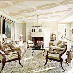Happy Wednesday, IG 😊 This sitting room full of lush, creamy neutrals was recently renovated with this elegant plaster ceiling and detailed paneling 💛 Design by @meyerandmeyerarchitects and @mcalpinehouse. Featured in @archdigest. Get this traditional living room style now on the site! #kathykuohome #interiordesign #livingroom #architecturelove #homeinspo #homedecor #neutrals