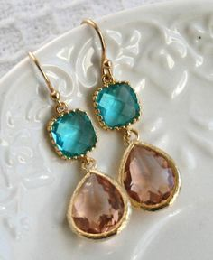 Peach and Aqua Sea Green Teardrop Golden Earrings, Pink Champagne Peach Aqua Blue Drop Earrings, Wedding style, Statement Bridal Jewelry
