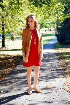 Alice & Trixie's little red Twiggy dress looks so chic with this Jealous Tomato camel colored blazer. The perfect work day look for staying stylish and comfortable.
