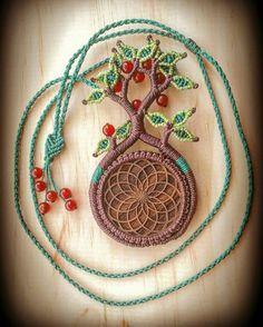 Tree of Life Micro Macramé Necklace with Walnut Wood Torus and Carnelian beads. Boho / Hippie / Gypsy / Zen / Tribal / Amulet / Talisman