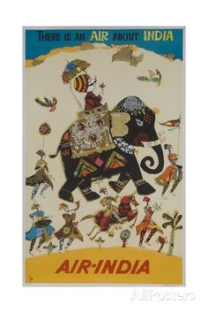 Air India Travel Poster, There Is an Air About India Impressão giclée