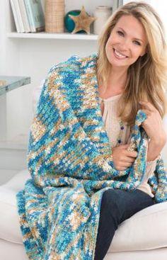 Best Free Crochet » Free Crochet Pattern Just Beachy Throw From RedHeart.com #124