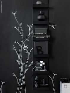 The narrow shelves of LACK help you use small wall spaces effectively.