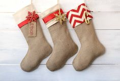 Christmas Stocking - Red & Ivory Collection - Set of 3 Burlap Stockings
