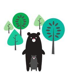 Black Bears in Forest   jenimdesign via Etsy