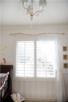 branch curtain rod-sheer curtains & bamboo blinds.