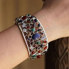 Shimmering Confetti Bracelet available at Novica - gemstone cuff bracelet in sterling silver from India