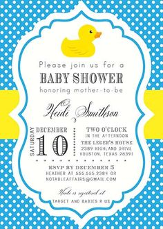 Rubber Duck Polka Dot Blue and Yellow Baby Shower Invitation