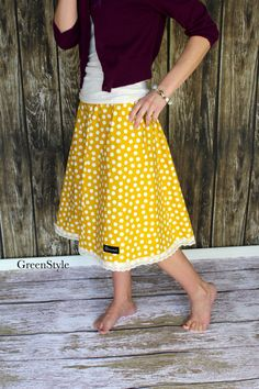 Mustard Yellow and Off White Polka Dot