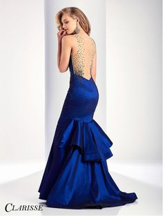 Clarisse Prom 3157 Navy Sheer Neckline Prom Dress
