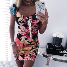 Buy Cheap Women Bodycon Dress Fashion Sexy Square Collar Floral Printed Short Sleeve Women Dress Sexy Dress Club Wear Online - Hplify