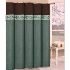 Exceptional Springfield Luxury Chocolate Brown And Aqua Shower Curtain
