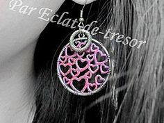 Boucles d'oreilles romantique 1000 coeurs rose métallique