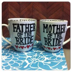 Father and Mother of Bride Coffee mug Set or by PickMeCups on Etsy, $22.00