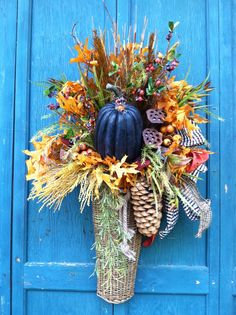 For fall - gorgeous floral arrangement to hang on your door (from Three French Hens)